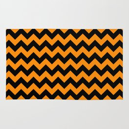 Large Black and Pumpkin Orange Halloween Chevron Stripes Rug