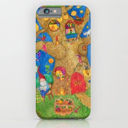 A family of gnomes grandparents drink tea in the summer in the garden. iPhone Case