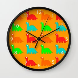 Cute Dino Pattern Walking Dinosaurs Wall Clock