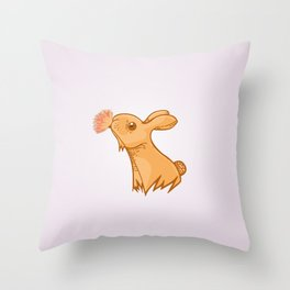 Bunny smelling a flower Throw Pillow