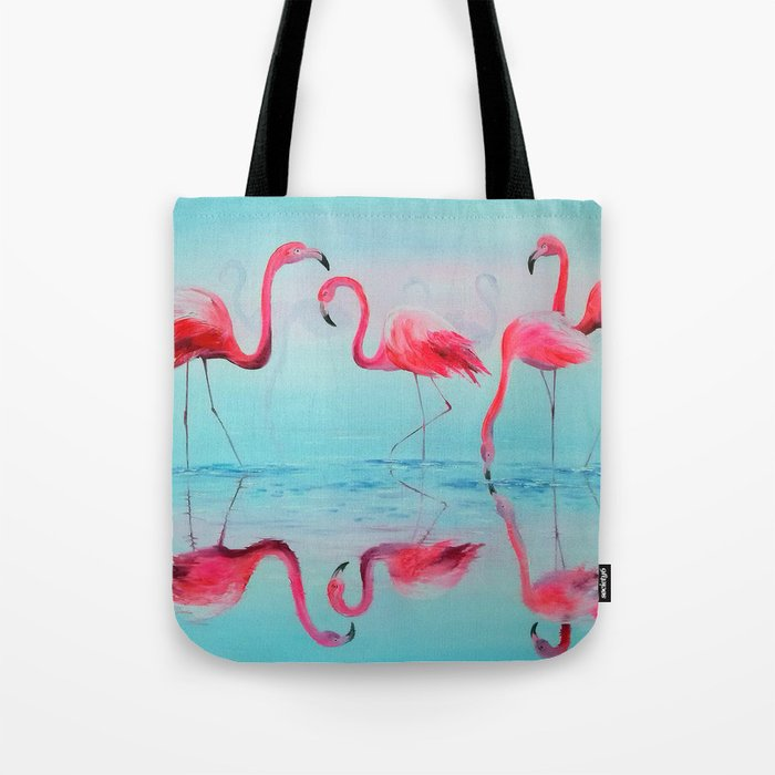 Flamingo at sunset Tote Bag