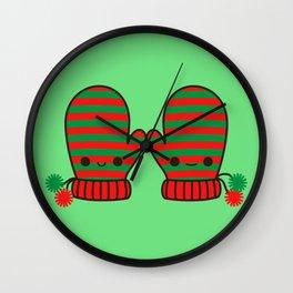 Cute stripy mittens Wall Clock