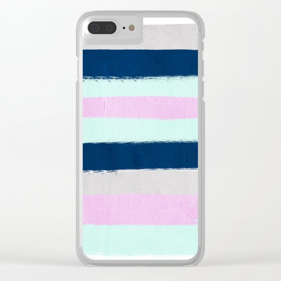Minimal painted stripes pattern bright happy gender neutral colors Clear iPhone Case
