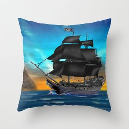 Pirate Ship at Sunset Throw Pillow