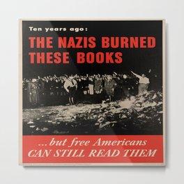 Vintage poster - Burned Books Metal Print