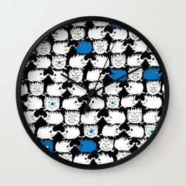 Too Many BLUE Hedgehogs Wall Clock