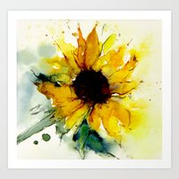 sunflower Art Prints featuring sunflower by beautifyprints