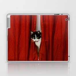 Peek-A-Boo Tuxedo Kitty Laptop & iPad Skin