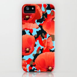 Poppie Camouflage Red Blue iPhone Case