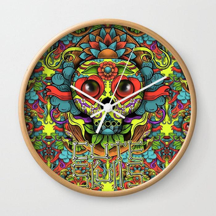 Cute Skull Dia de Los Muertos Wall Clock by hfdmarques | Society6