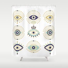 Evil Eye Collection on White Shower Curtain