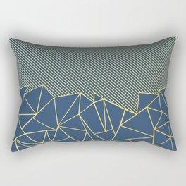 Ab Lines 45 Navy and Gold Rectangular Pillow