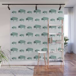 Bison And Baby (Moss) Wall Mural