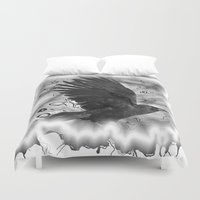 crow Duvet Covers featuring crow by Vector Art