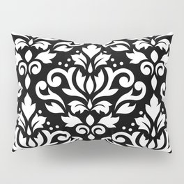 Scroll Damask Large Pattern White on Black Pillow Sham
