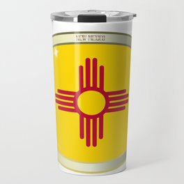 New Mexico State Flag Oval Button Travel Mug