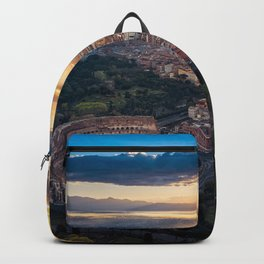 Daybreak above the Colosseum in Rome Backpack