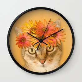Tabby Cat with Daisy Flower Crown, Mustard Yellow Background Wall Clock