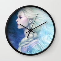 artgerm Wall Clocks featuring Frozen by Artgerm™
