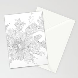 Mount Rainier, WA Contour Map In White Stationery Cards