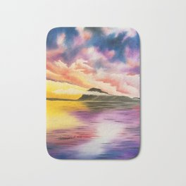 Drama Drama Drama, Cloudy Sky, Colorful Sunset, Beach Sunset Bath Mat