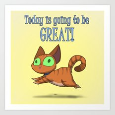 Optimistic Cat Art Print