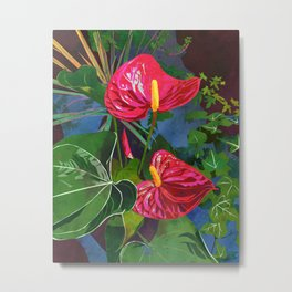 Red Anthurium Tropical Flower Watercolor Art Metal Print