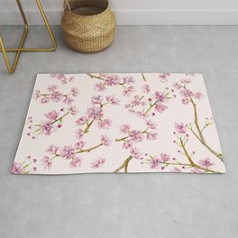 Spring Flowers - Pink Cherry Blossom Pattern Rug