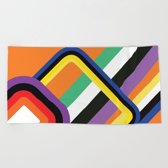 60s Geometric Shapes Beach Towel