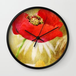 Poppies and Daisies Wall Clock