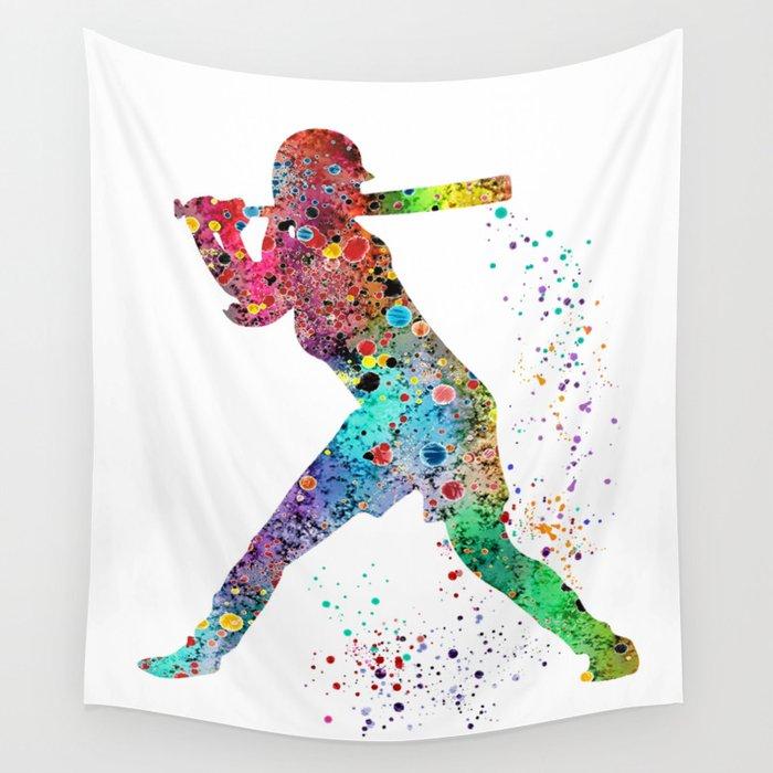 Baseball Softball Player Sports Art Print Watercolor Print Girl's softball Wall Tapestry