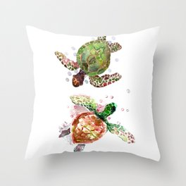 Turtles, Olive Green Cherry Colored Sea Turtles, turtle Throw Pillow