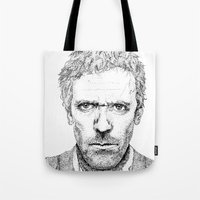 house md Tote Bags featuring Hugh Laurie, House MD by Milicule