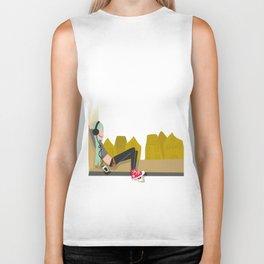 fashion hipster music illustration girl Biker Tank