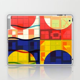 Red Blue Yellow Geometric Sun Abstract Art Laptop & iPad Skin