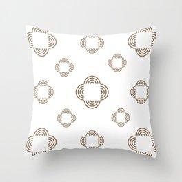 Brown Circle Squares Throw Pillow