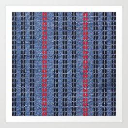 Digital Graphic Pattern Blue Denim Art Print