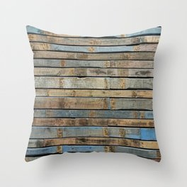 distressed wood wall - Blue and brown planks Throw Pillow