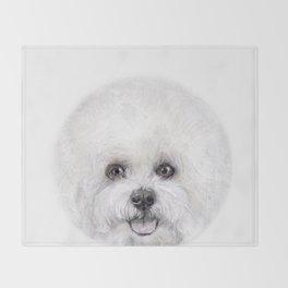 Bichon illustration, Dog illustration original painting print Throw Blanket