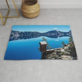 Outhouse on the Cliff // Crater Lake National Park Crystal Clear Blue Waters and Sky Rug