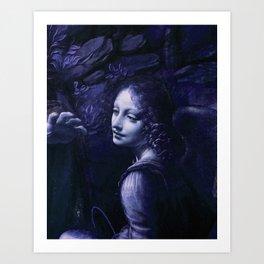 "Leonardo da Vinci Angel in ""The Virgin of the Rocks (London)"" (blue) Art Print"
