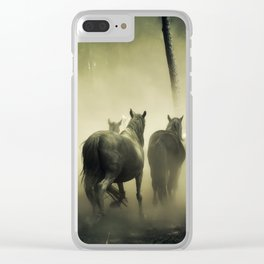 Herd of Horses Running Down a Dusty Path Clear iPhone Case
