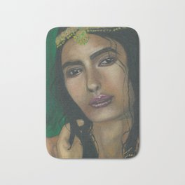 Lady in Green Bath Mat