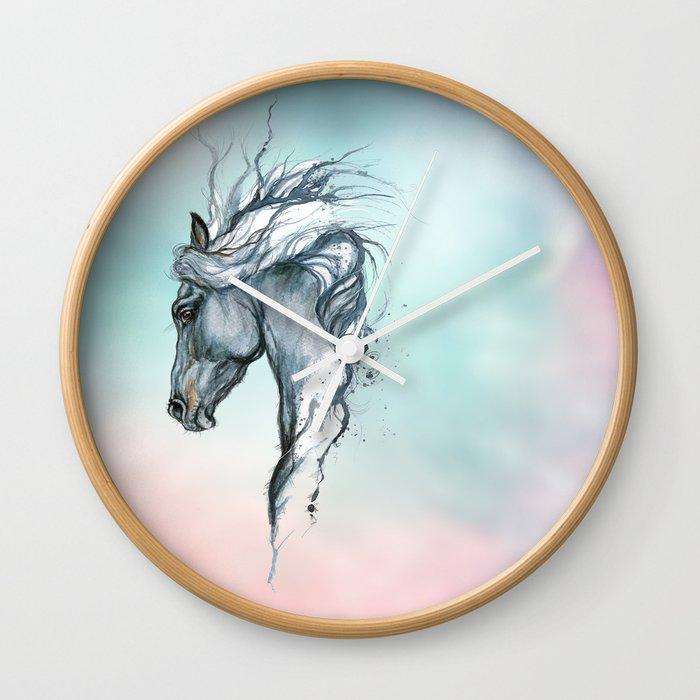 a48c20fee76 Aqua horse Wall Clock by tarantella