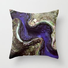 Blue Clam with Nudibranch Throw Pillow