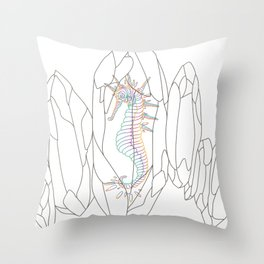 Seahorse in a crystal Throw Pillow