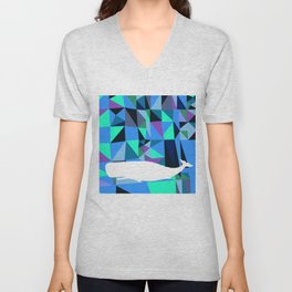 Whale art Geometric triangles artwork Unisex V-Neck