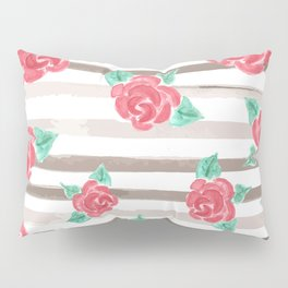 Stripes and Roses // Watercolor Pillow Sham