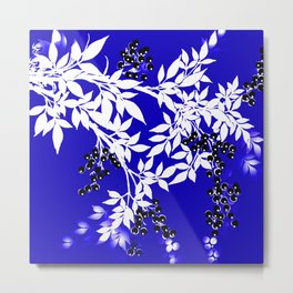 LEAF AND TREE BRANCHES BLUE AD WHITE BLACK BERRIES Metal Print
