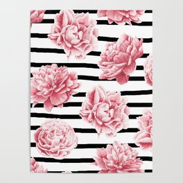 Simply Drawn Stripes and Roses Poster